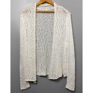 EILEEN FISHER White Open Knit Cardigan Sweater